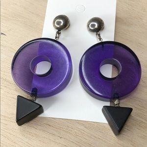 Vintage retro funky purple/black dangle earrings